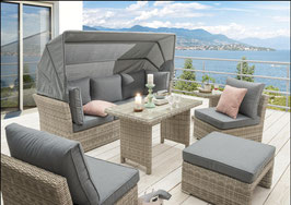 Destiny Loungegruppe Aruba Dining-Lounge Loungeinsel Loungeliege inkl. Tisch