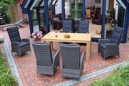 Destiny Sitzgruppe Tampa Dining Twoline Grau Gartenmöbel Teakholz Tisch Dorado