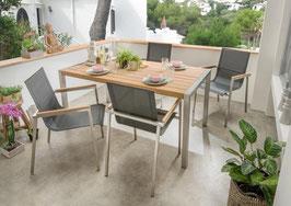 Destiny Essgruppe Altos mit Macao Tisch Edelstahl Textilene Schwarz Gartensessel Sitzgruppe Gartengruppe Teak