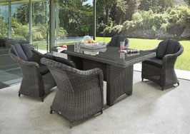Destiny Malaga Luna Sitzgruppe Vintage Grau Tisch 200x100 5 tlg. Loungegruppe Sessel