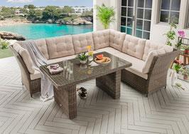Destiny Loungegruppe Palma Riviera XL Vintage Braun / vintage grau / vintage weiß Lounge Garnitur Dininglounge