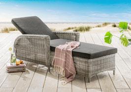 Destiny Liege Casa  Vintage Weiß Polyrattan Gartenliege Relaxliege & Polster