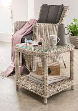 Destiny Balkonset Sessel Luna und Beistelltisch Merano Vintage Weiß