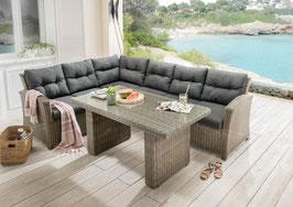 Destiny Loungegruppe New Riviera Vintage grau Lounge Sitzgruppe Sofaset Polyrattan Rattan