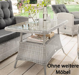 Destiny Gartentisch Casa / Merano Vintage Weiß Tisch 200 x 100 cm Polyrattan Geflechttisch - Ohne weitere Möbel