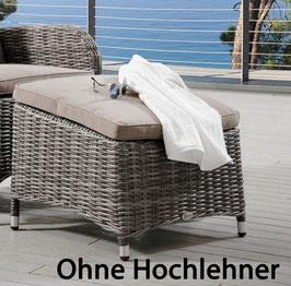 Destiny Fußhocker BAHIA Hocker Polyrattan Grau mit Polster Beinauflage - Ohne Hochlehner -