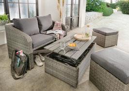 Destiny Lounge Jersey II Grau / braun Gartenmöbelset Loungeset 4teilig Sitzgruppe Polyrattan Polster anthrazit / natur Balkonset