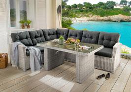 Destiny Loungegruppe Riviera Vintage Weiß Lounge Sitzgruppe Sofaset Polyrattan