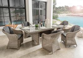 Destiny Sitzgruppe LUNA Malaga Vintage Grau Garnitur Gartenmöbelset Polyrattan