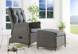 Destiny Sessel Casa Relax Komfortsessel mit Casa Fußhocker Polyrattan Vintage Grau