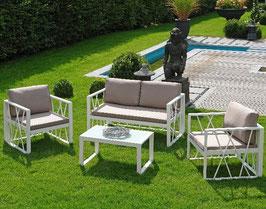 Inko Lounge Garnitur Santorin Loungemöbel Sitzgruppe Aluminium Weiß