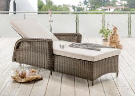 Destiny Liege Casa Luna Vintage Braun Polyrattan Gartenliege Relaxliege Polster