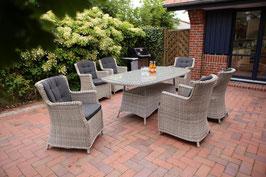 Gartenmöbelset Destiny Sitzgruppe Luna Whitegrey Garnitur Polyrattan Möbel Set