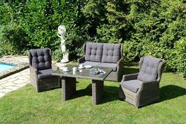 Inko Loungegruppe Leona Vario Lounge Sitzgruppe Sofaset Polyrattan Grau