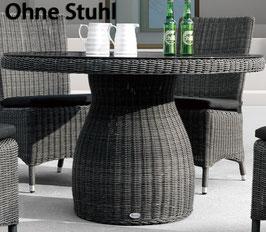 Destiny Collection Gartentisch Santos 120 cm Grau Geflechttisch Esstisch Tisch - KEINE STÜHLE!