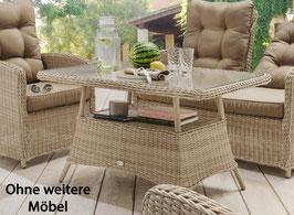 Destiny Gartentisch Merano Pearl Shell Tisch 200 x 100 cm Polyrattan Geflechttisch - Ohne weitere Möbel -