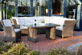 Destiny Loungegruppe Palma Riviera XL Vintage Braun Lounge mit Sessel Esstisch