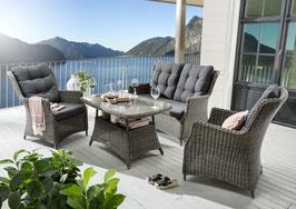 Destiny Loungegruppe Casa Grau Lounge Sitzgruppe Sofaset Polyrattan Rattan