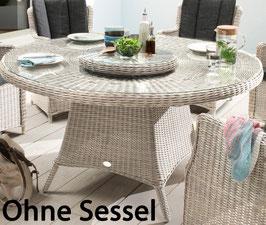 Destiny Gartentisch Luna XXL 150 cm Vintage Weiß Tisch Polyrattan Esstisch mit Lazy Susan Drehtablett - Ohne Sessel -