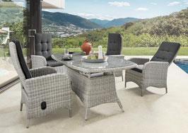 Destiny Palma Luna Sitzgruppe Vintage Weiß Tisch 200x100 Loungegruppe Hochlehner