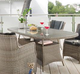 Destiny Gartentisch Luna 200 x 100 cm Vintage Grau Tisch Polyrattan Geflechttisch Esstisch Halboval