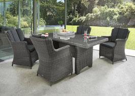 Destiny Luna Sitzgruppe Vintage Grau Tisch 165x90 cm Loungegruppe Sessel