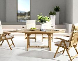 DESTINY Tisch Four Seasons Teaktisch ausziehbar 120-180/150-210/180-240 x 110 - Ohne Sessel -