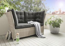 Destiny Loungesofa Palma 2er Lounge Sofa Vintage weiß Bank Gartensofa Polyrattan Dininglounge