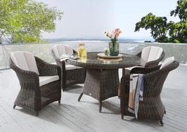 Destiny Malaga Luna II Vintage Braun Tisch Gartenmöbelset Garnitur Sitzgruppe Esstisch Rundtisch