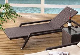 Auckland II Stapelliege, verstellbar Bronze Gartenliege mit Armlehnen und Polster Sonnenliege Relaxliege Auflagen Stapelbar