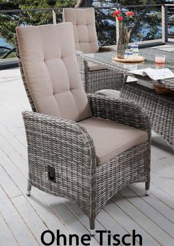 Destiny verstellbarer Sessel Bahia Grau meliert Hochlehner Sessel Verstellsessel Polyrattan Gartensessel - Ohne Tisch -