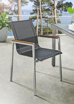Destiny 2er Set Sessel ALTOS Stapelsessel Edelstahl Textilen Gartensessel Schwarz