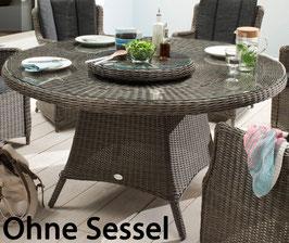 Destiny Gartentisch Luna XXL 150 cm Vintage Grau Tisch Polyrattan Esstisch mit Lazy Susan Drehtablett - Ohne Sessel -