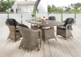 Destiny 5 tlg Sitzgruppe Malaga Luna Gartensessel Geflechtisch 200x100 Polyrattan Gartensitzgruppe