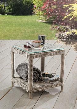 Destiny Beistelltisch Merano Vintage Weiß Tisch Polyrattan Kaffeetisch - Ohne Sessel -