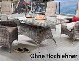 Gartentisch Destiny Bahia  165 x 90 cm Grau Geflechttisch Esstisch Tisch Poly - Ohne Hochlehner -
