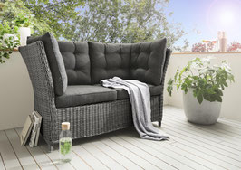 Destiny Loungesofa Palma 2er Lounge Sofa Vintage grau Bank Gartensofa Polyrattan
