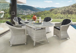 Destiny Malaga Luna Sitzgruppe Vintage Weiß Tisch Oval 180x100 Loungegruppe Sessel
