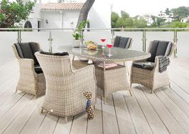 Destiny 5 tlg Sitzgruppe Luna Gartensessel Geflechtisch 180x100 Polyrattan Gartensitzgruppe Vintage Weiß