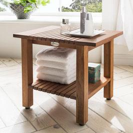 Destiny SPA Badezimmer Hocker/Tisch Regal geriffelt Teakholz mit Boden 45,5 x 33,0 x 44,5