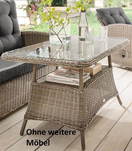 Destiny Gartentisch Casa / Merano Vintage Grau Tisch 200 x 100 cm Polyrattan Geflechttisch - Nur Tisch
