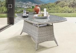 Polyrattan Gartentisch Destiny Luna 200 x 100 cm  Tisch Geflechttisch Esstisch Halboval Vintage Weiß