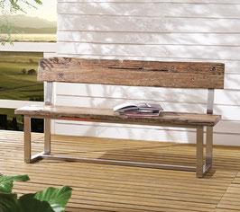 """Toledo Bank  Esszimmer Holzbank Second Life Wood"""" / Edelstahl, 160 cm"""