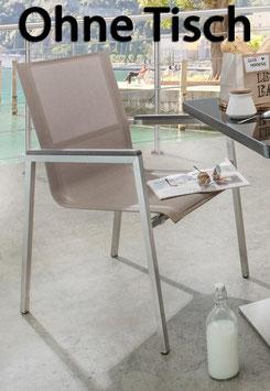 Destiny Sessel Altos Stapelsessel Edelstahl Textilene Taupe Gartensessel Armlehne Grau - Ohne Tisch -