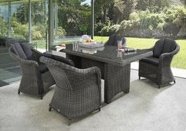 Destiny Malaga Luna Sitzgruppe Vintage Grau Tisch 165x90 Loungegruppe Sessel