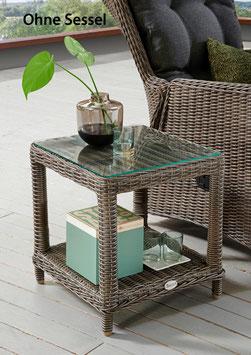 Destiny Beistelltisch Merano Vintage Grau Kaffeetisch Polyrattan - Ohne Sessel -