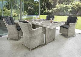 Destiny Luna Sitzgruppe Vintage Weiß Tisch 165x90 cm Loungegruppe Sessel
