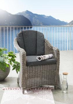 Destiny 2er Set Sessel Malaga II Vintage Grau Geflechtsessel Polyrattan Gartensessel