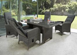 Destiny Palma Luna Sitzgruppe Vintage Grau Tisch 165x90 Loungegruppe Hochlehner