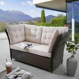 Destiny Loungesofa Palma braun / Grau / Weiß Lounge Sofa Bank Gartensofa Polyrattan Gartenbank Gartenlounge